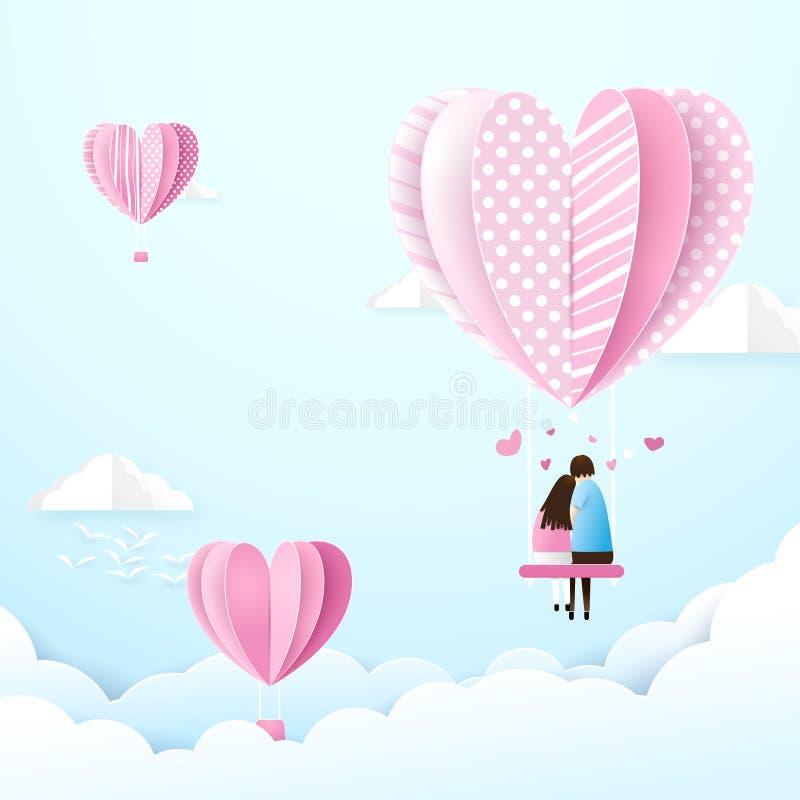 在爱的愉快的夫妇在天空中摇摆与心脏形状气球 向量例证