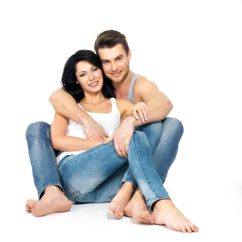 在爱的愉快的美好的夫妇 免版税库存照片