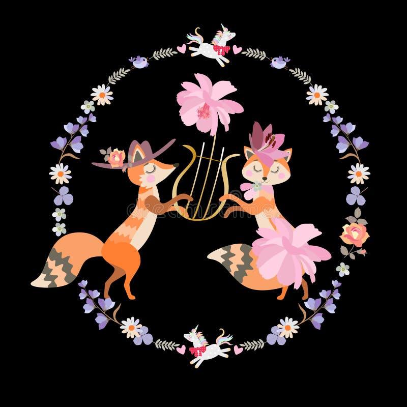 在爱的滑稽的狐狸弹里拉琴 与花、叶子和逗人喜爱的独角兽的美好的圆的框架 招呼的或婚姻的邀请 向量例证