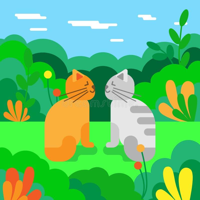 在爱的猫在草甸 也corel凹道例证向量 夏天横向 向量例证