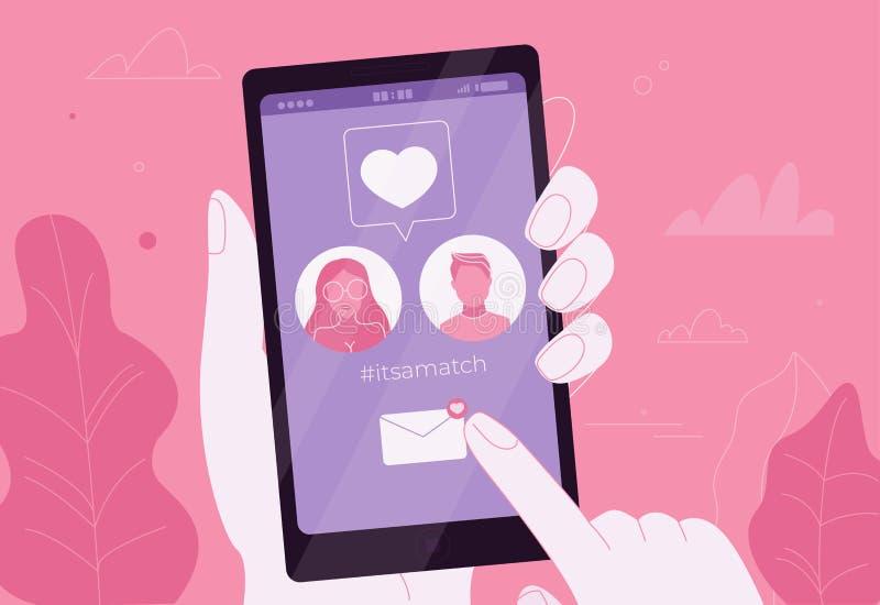 在爱的网上约会夫妇在电话的app 它是比赛 皇族释放例证