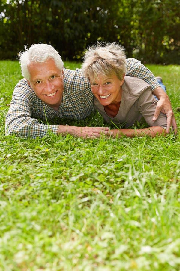 在爱的资深夫妇在草甸 免版税库存图片