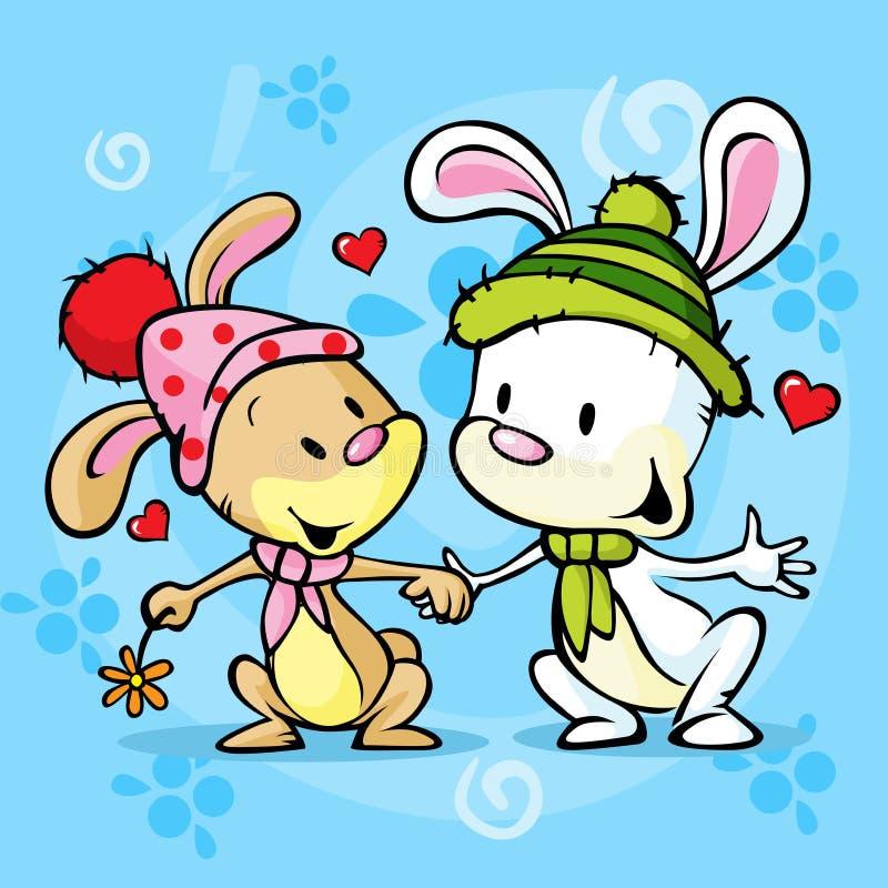 在爱的逗人喜爱的兔宝宝在冬天背景 向量例证