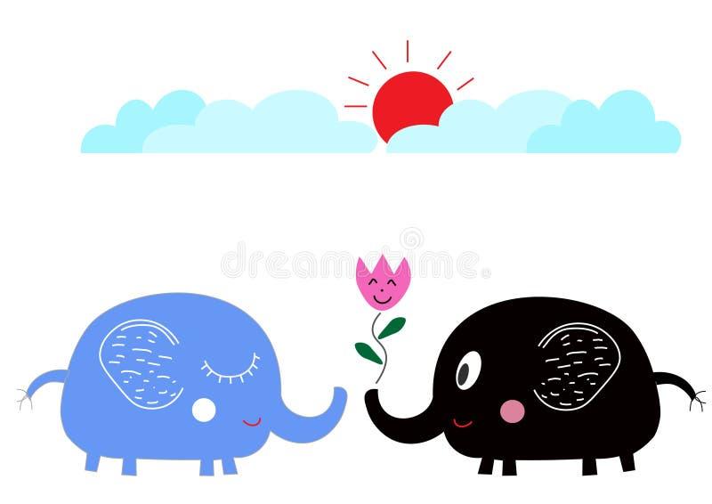在爱的逗人喜爱的动画片大象在太阳下 库存照片