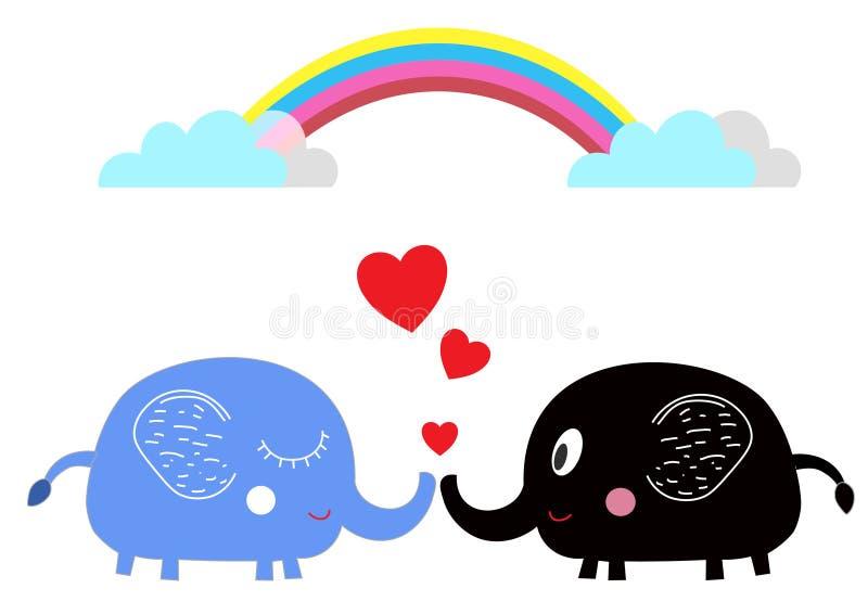 在爱的逗人喜爱的动画片大象在彩虹下 免版税库存照片