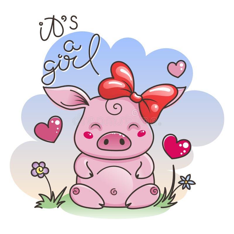 在爱的逗人喜爱的动画片猪新的2019年的标志中国占星问题的敌意图片