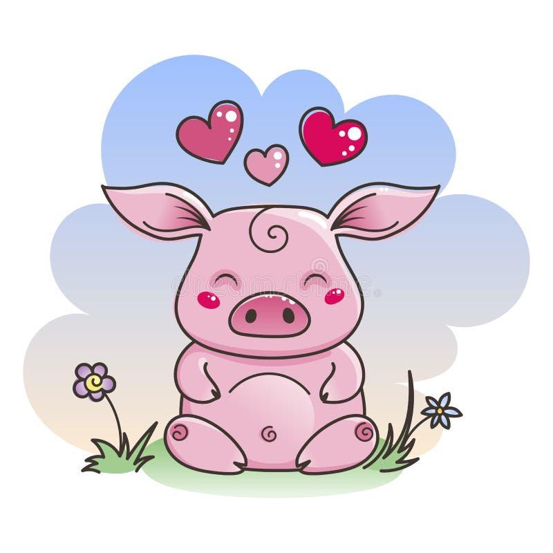 在爱的逗人喜爱的动画片猪 新的2019年的标志图片