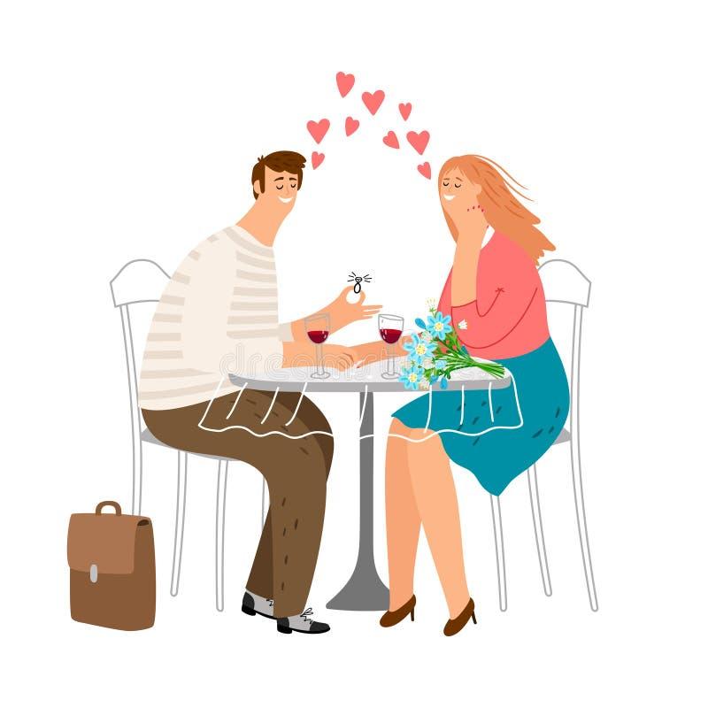 在爱的逗人喜爱的夫妇在咖啡馆 约会传染媒介例证的爱 人提出一个提案结婚 皇族释放例证