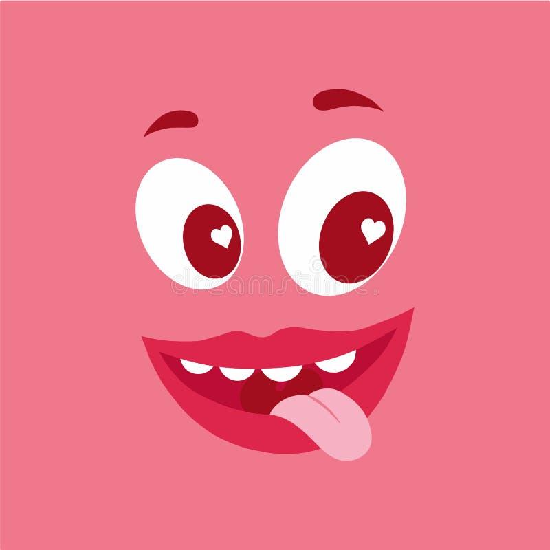 在爱的逗人喜爱的桃红色妖怪字符 与非常突出的舌头和心脏的面孔在眼睛 平的动画片传染媒介例证 皇族释放例证