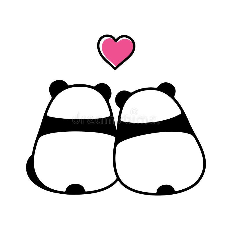 在爱的逗人喜爱的熊猫夫妇 向量例证