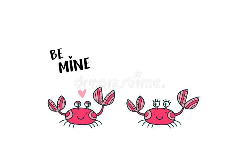 在爱的逗人喜爱的螃蟹夫妇 向量例证