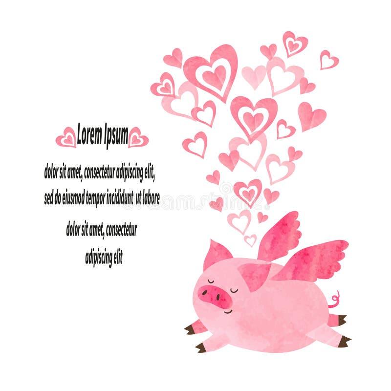 在爱的逗人喜爱的水彩猪 库存例证