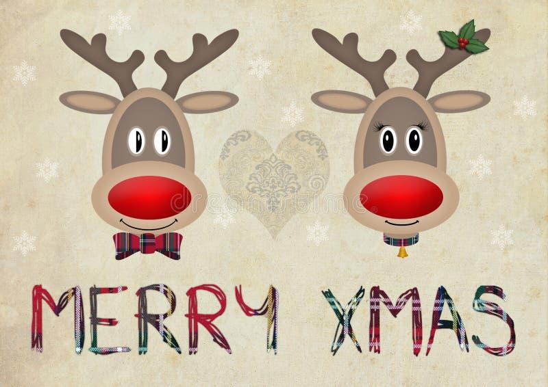 在爱的逗人喜爱的滑稽的驯鹿在与文本圣诞快乐的老纸背景 库存例证