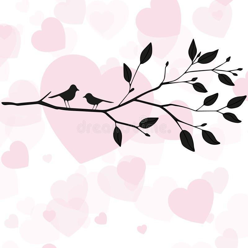 在爱的鸟在春天卡片的树 库存照片