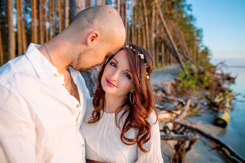 在爱的年轻人怀孕的夫妇在夏天晴朗的晚上 库存照片