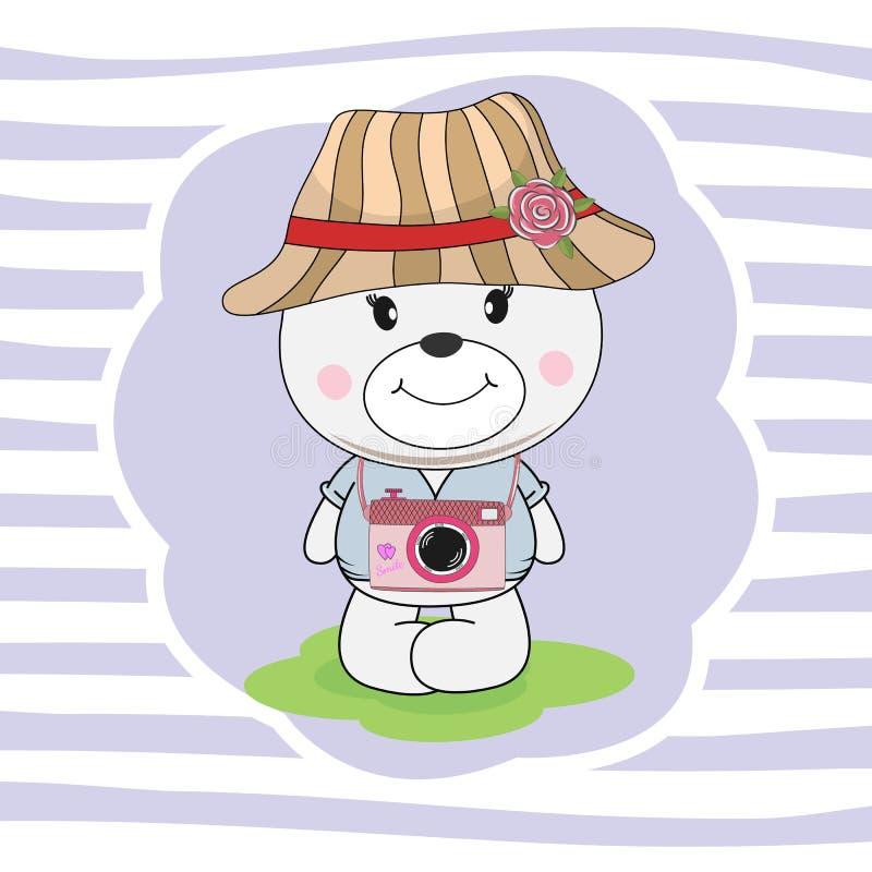 在爱盖帽梦想的美丽的小的摄影师熊  向量例证