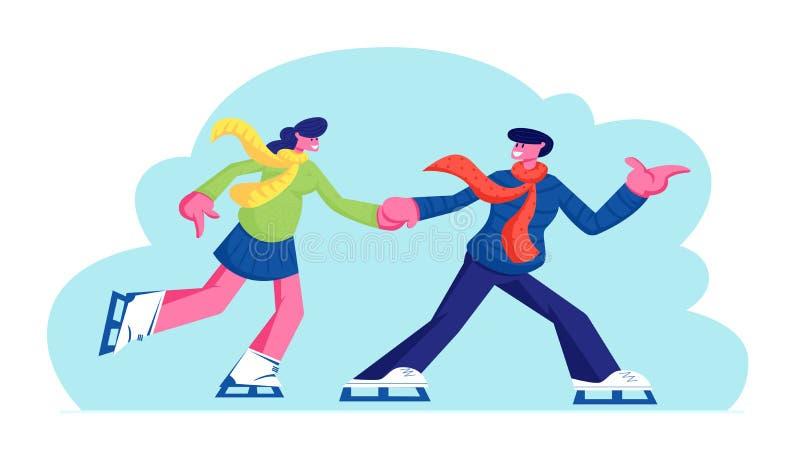在爱获得乐趣,活跃日期滑冰在冬时的滑冰场竞技场的男人和妇女字符的年轻夫妇,健康生活方式 库存例证