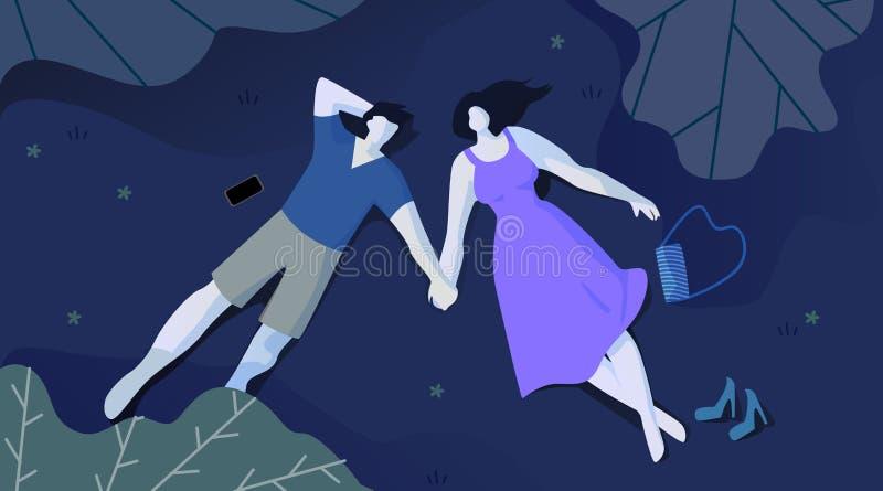 在爱谎言的夫妇在晚上在公园和查寻 向量例证