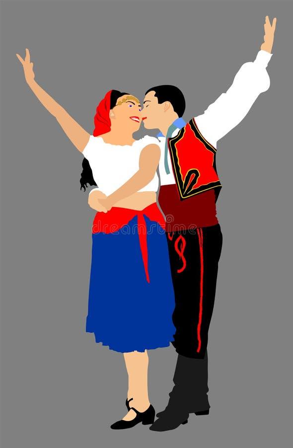 在爱跳舞在白色隔绝的传染媒介例证的夫妇 巴尔干舞蹈家,民间舞在欧洲 严紧公开 亲吻女孩 向量例证