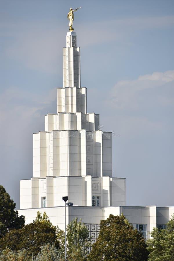 在爱达荷的摩门教堂在爱达荷落 免版税库存图片