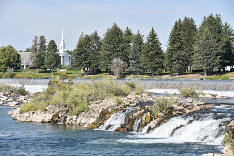 在爱达荷的瀑布在爱达荷落 库存照片