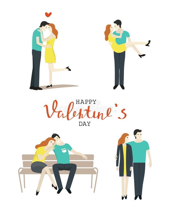 在爱集合的夫妇 拥抱和亲吻在白色背景的人们 库存例证