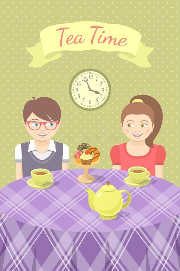 在爱饮用的茶的夫妇 库存例证