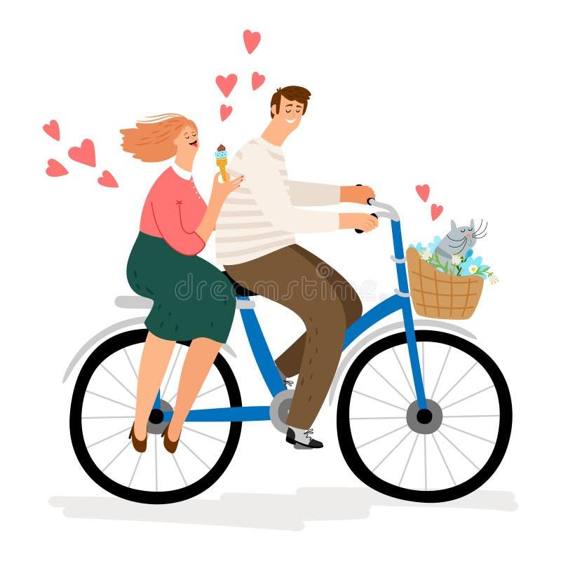 在爱骑马自行车传染媒介例证的夫妇 卡通人物人妇女猫 向量例证