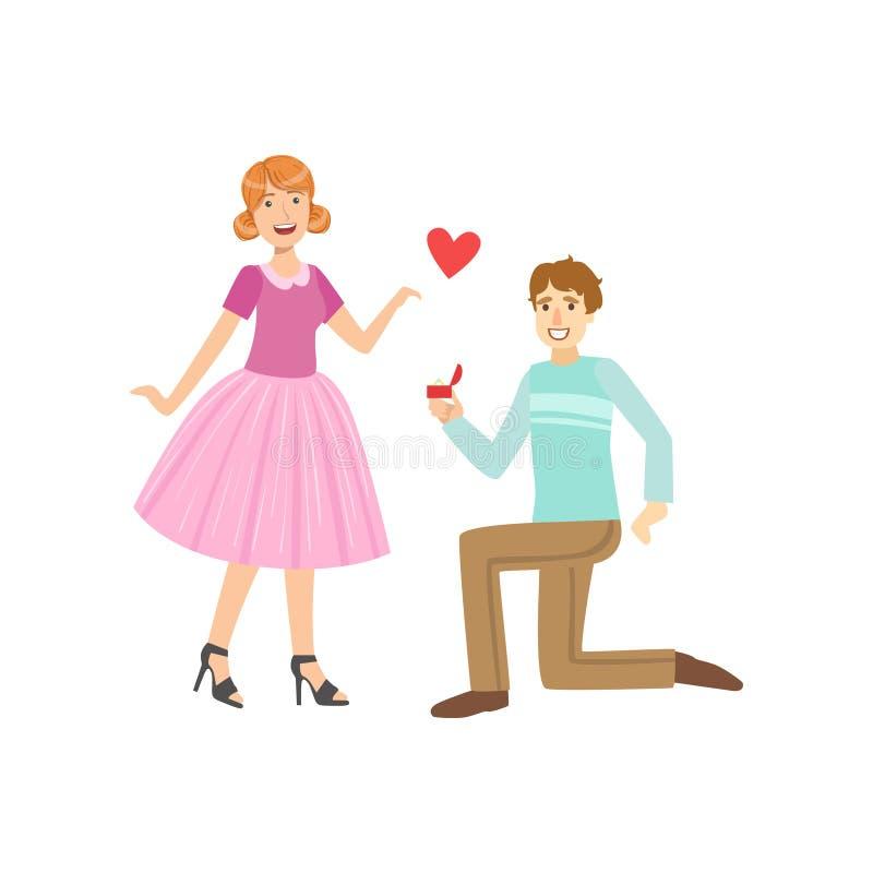 在爱,人提议的夫妇 向量例证