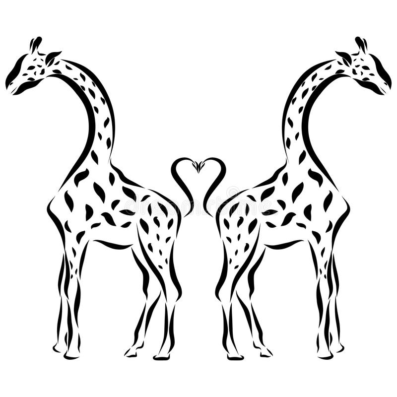 在爱,浪漫样式的长颈鹿 皇族释放例证