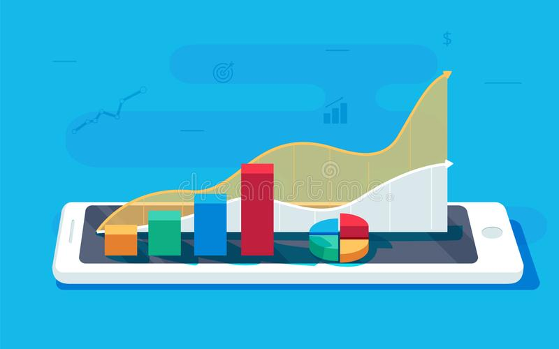 在片剂个人计算机的数据表 销售成长报告或逻辑分析方法调查,促进的销售注标逻辑分析方法数据 库存例证