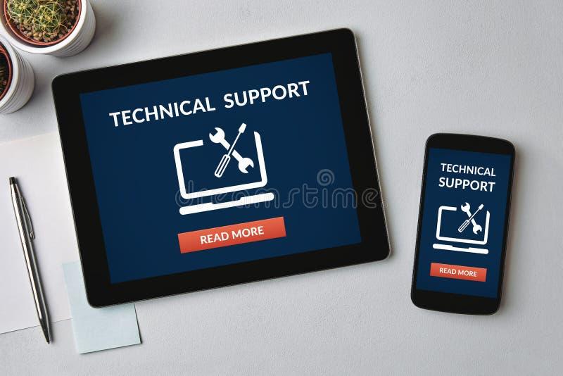 在片剂和智能手机屏幕上的技术支持概念 免版税图库摄影
