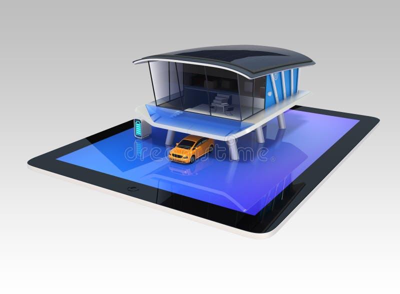 在片剂屏幕上的时髦的未来派设计房子.图片