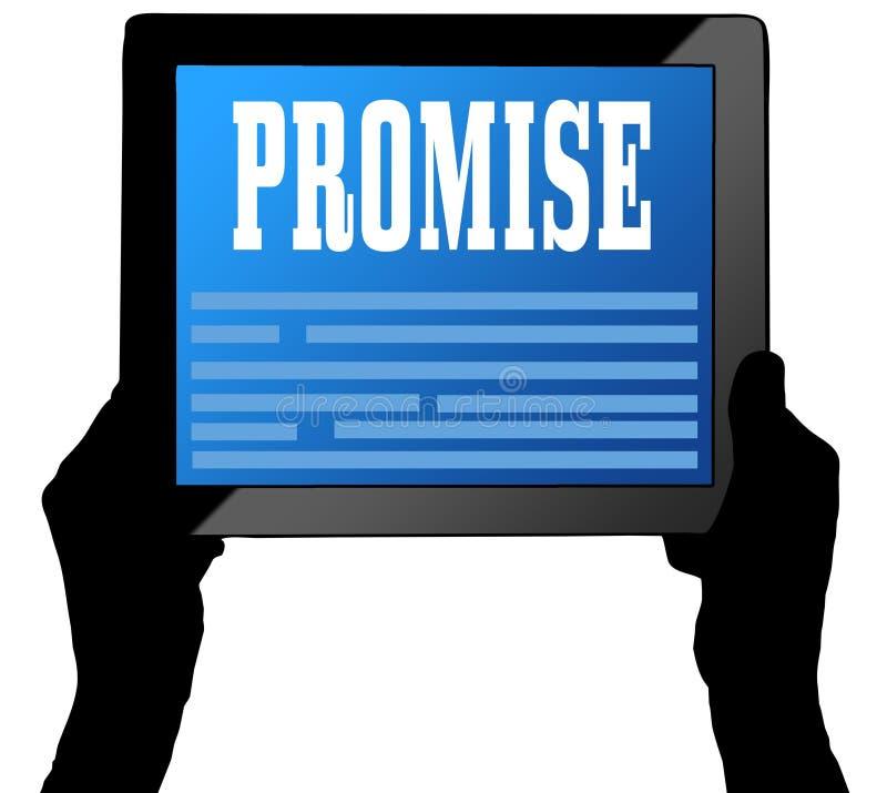 在片剂屏幕上的诺言,举行由两只手 向量例证