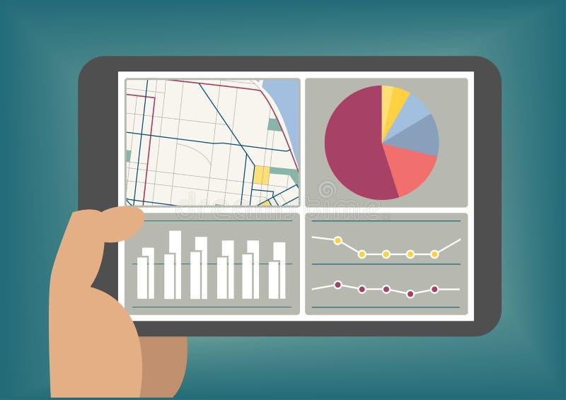 在片剂显示的大数据和逻辑分析方法仪表板筛选如同说明 向量例证