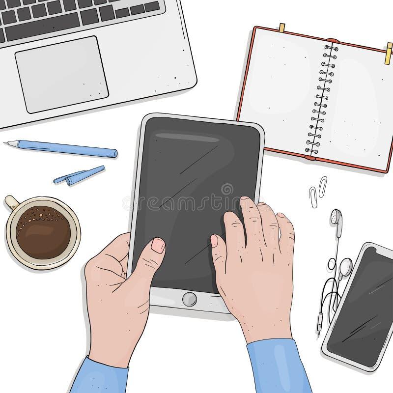 在片剂的人工作 有片剂、膝上型计算机、笔记本、电话和一杯咖啡的工作书桌 顶视图 库存例证