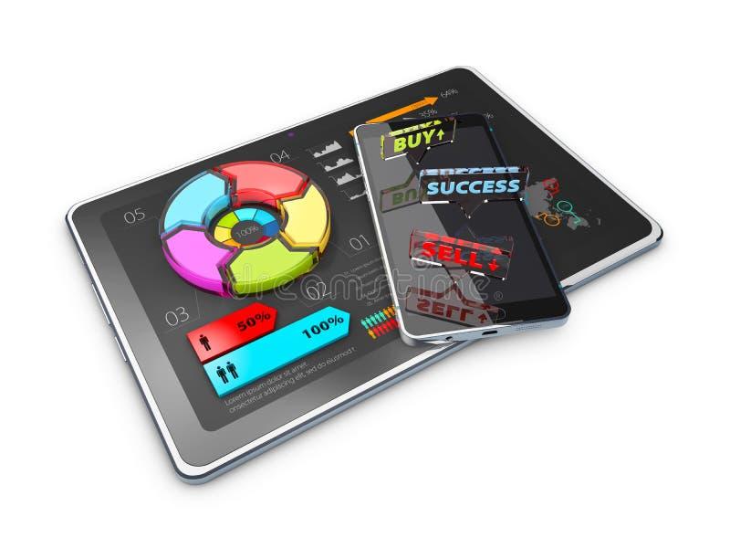 在片剂的创造性的五颜六色的3D例证圆形统计图表,企业概念 库存照片