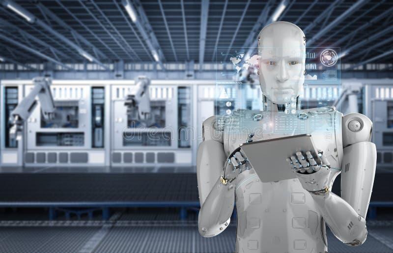 在片剂的机器人工作 皇族释放例证