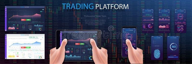 在片剂,分析股市投资有财政仪表板的投资者的手 库存例证