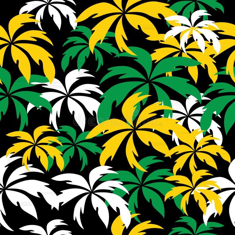 在牙买加颜色的棕榈树 无缝的背景 向量例证