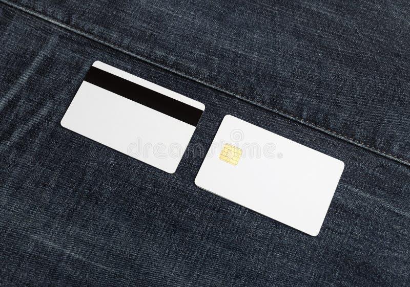 在牛仔布的万一银行卡 免版税库存照片
