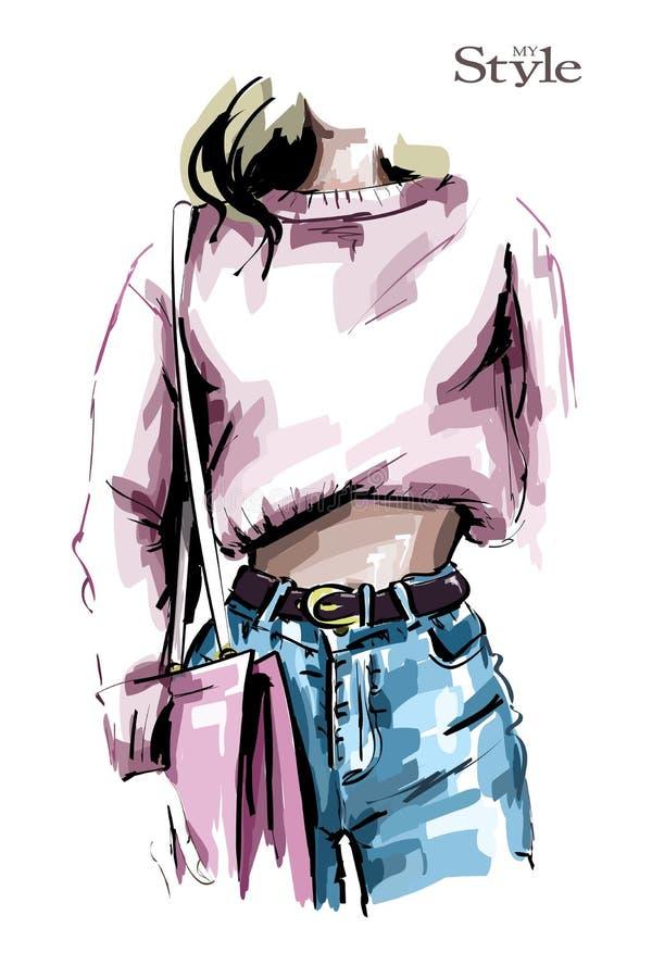 在牛仔裤和衬衣的手拉的女性身体 有袋子的时尚妇女 塑造查找 库存例证