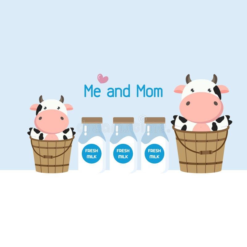 在牛奶桶的母亲和小母牛 逗人喜爱的牲口动画片 皇族释放例证