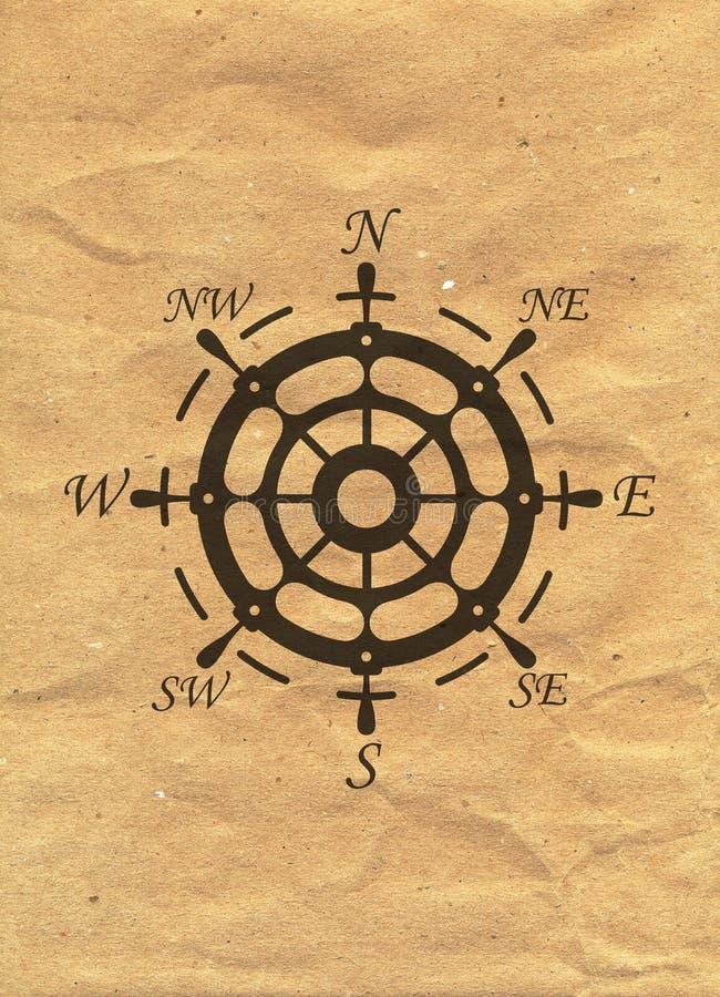 在牛皮纸背景的船舶商标 海洋标签,海徽章 库存例证