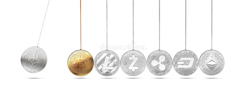 在牛顿` s摇篮的Ethereum硬币促进并且加速其他cryptocurrencies和反复 Cryptocurrencies促进pric 皇族释放例证
