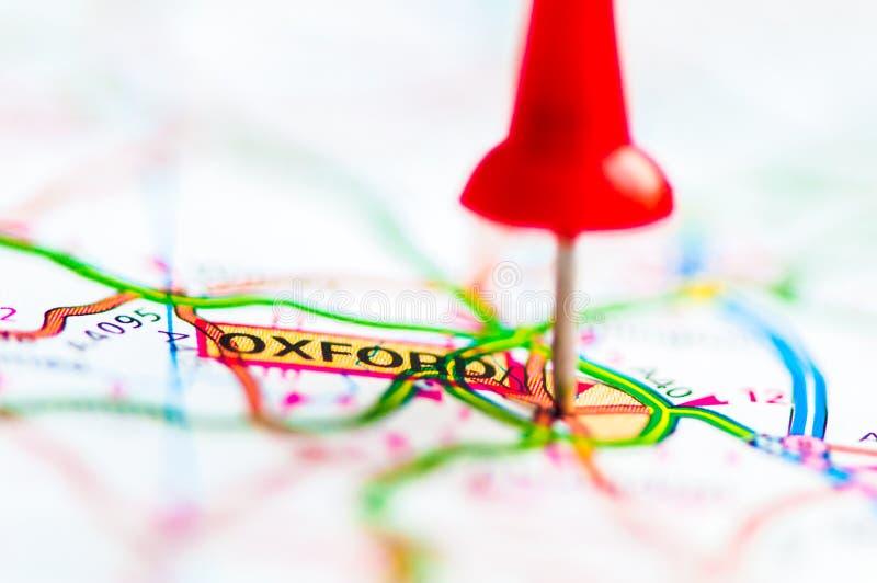 在牛津市的特写镜头地图的,英国 免版税库存照片