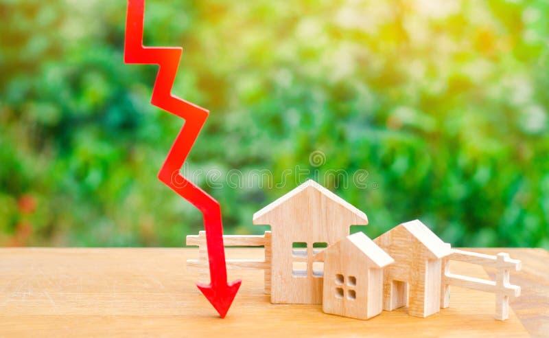 在物产价格的一种衰落 人口衰落 在抵押的下跌的兴趣 减少受欢迎为housin购买  免版税库存图片