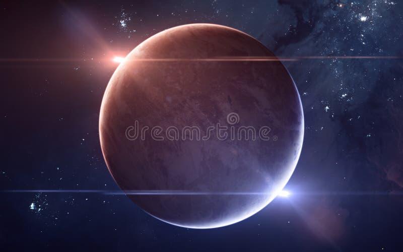 在物理双星系统的行星 在外层空间的红色和蓝星 ?? 免版税图库摄影