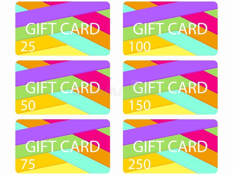 在物质设计样式的礼品券 被切开的纸层数  卡片在25, 50, 75 100, 150, 250花费了 设置向量 皇族释放例证