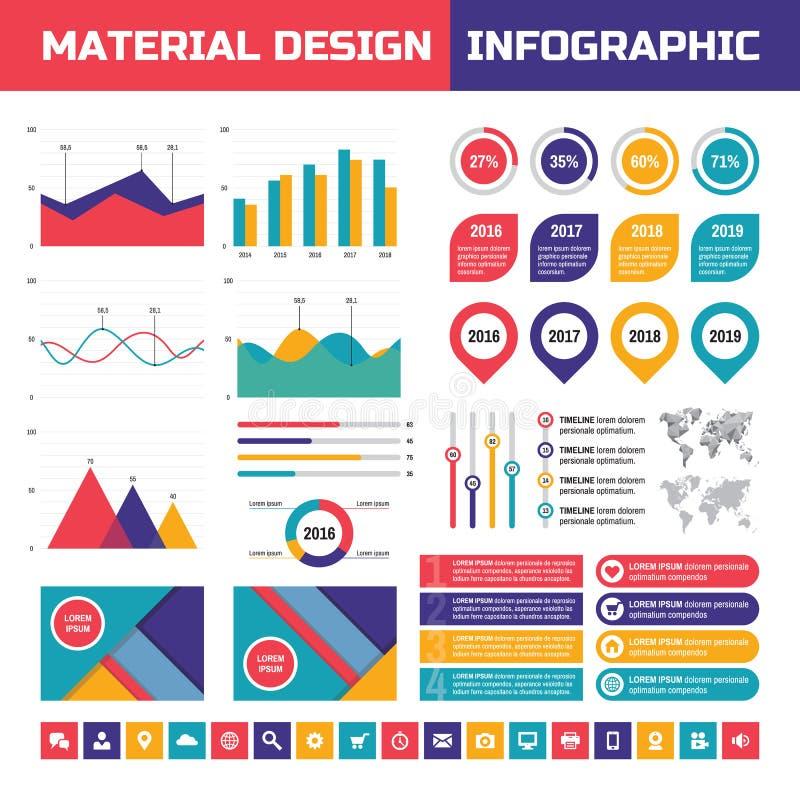 在物质设计样式的企业infographic传染媒介集合 企业infographics元素 在平的样式设计的Infographic 向量例证